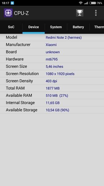 Xiaomi Redmi Note 2 - CPU-Z 2