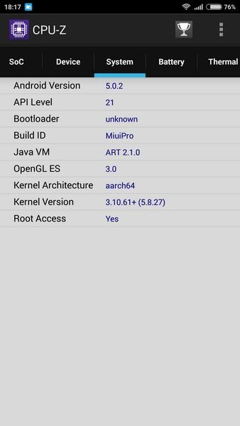 Xiaomi Redmi Note 2 - CPU-Z 3