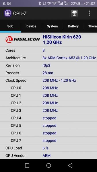 Huawei P8 Lite - CPU-Z 1