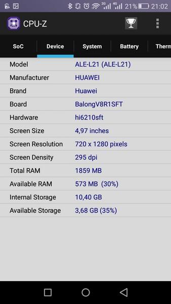 Huawei P8 Lite - CPU-Z 2
