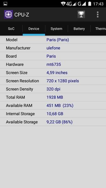 Ulefone Paris - CPU-Z 2