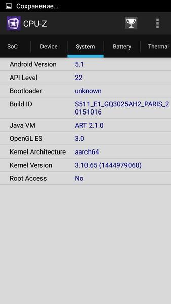 Ulefone Paris - CPU-Z 3