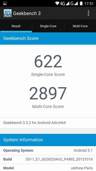 Ulefone Paris - Geekbench 1