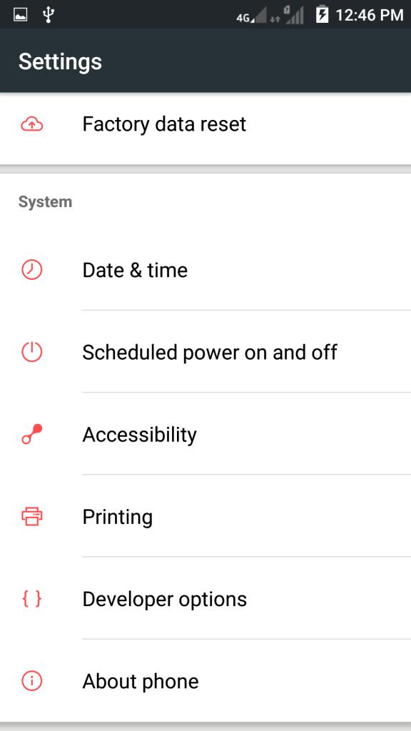 ZTE V5 Pro - Developer option
