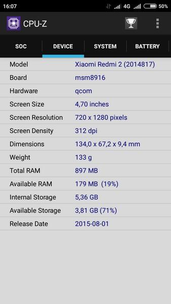 Xiaomi Redmi 2 - CPU-Z 2
