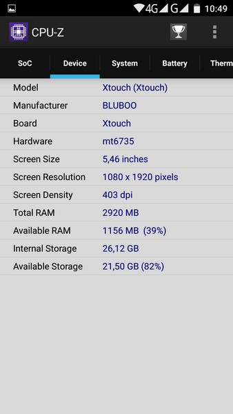 Bluboo Xtouch - CPU-Z 2