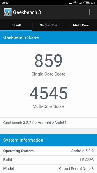 Xiaomi Redmi Note 3 - Geekbench