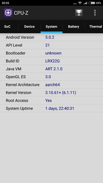 Xiaomi Redmi Note 3 - CPU-Z 3
