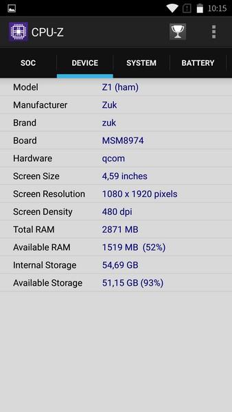 Lenovo ZUK Z1 - CPU-Z 2