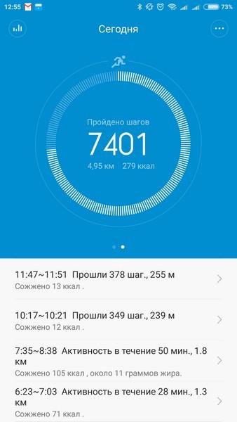 Xiaomi Mi Band 1S - Daily activity stat