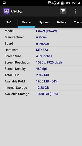 Ulefone Power - CPU-Z 2