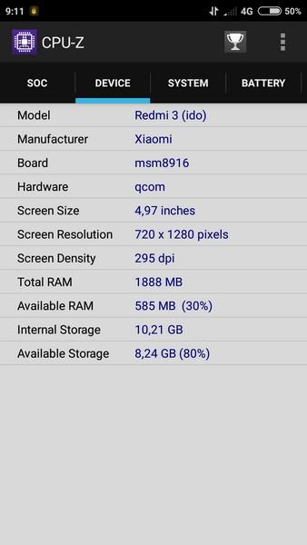 Xiaomi Redmi 3 - CPU-Z 2