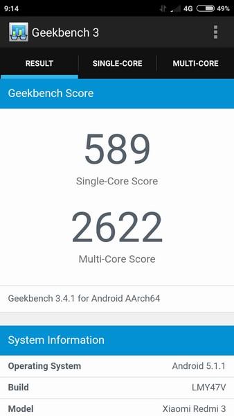 Xiaomi Redmi 3 - Test Geekbench 3
