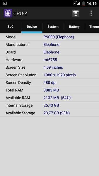 Elephone P9000 - CPU-Z 2