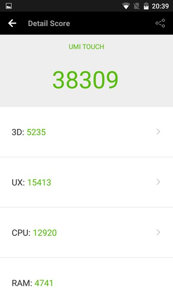 Umi Touch Review - AnTuTu test