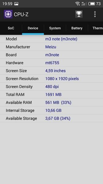Meizu M3 Note Review - CPU-Z 2