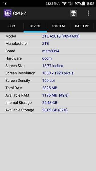 ZTE Axon Elite Review - CPU-Z 2