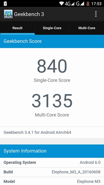 Elephone M3 Review - Geekbench 3 test