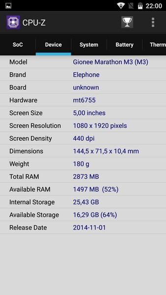 Elephone M3 Review - CPU-Z 2