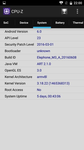 Elephone M3 Review - CPU-Z 3