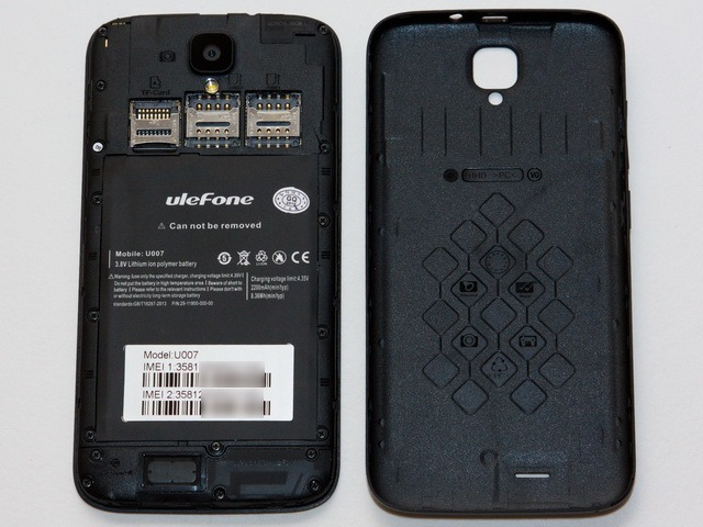 Ulefone U007 Review - Back cover