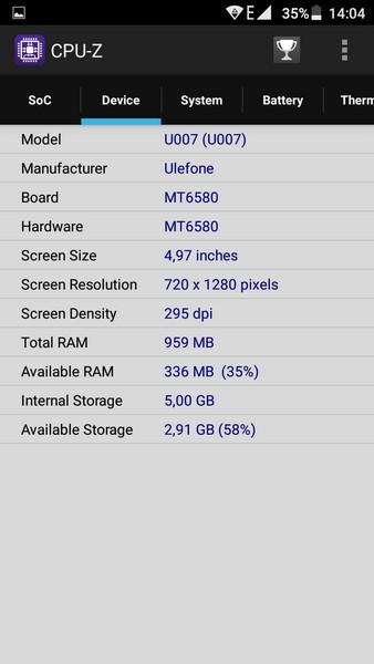 Ulefone U007 Review - CPU-Z