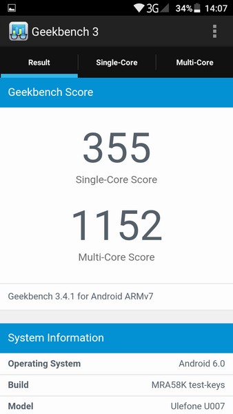 Ulefone U007 Review - Geekbench 3