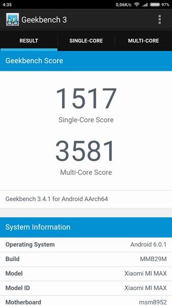 Xiaomi Mi Max Review - Geekbench 3