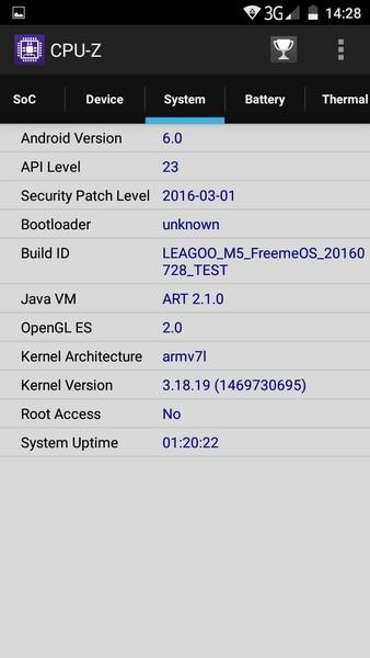 Leagoo M5 Review - CPU-Z