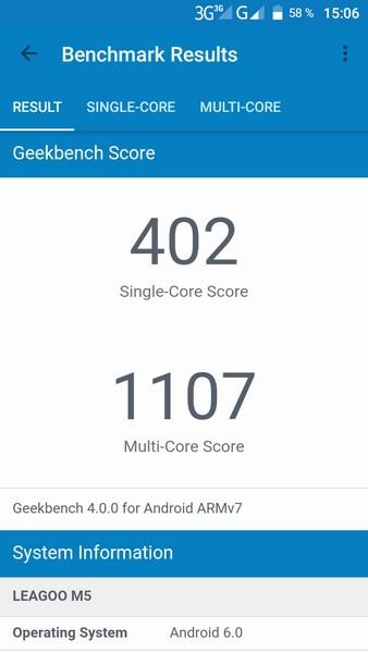 Leagoo M5 Review - Geekbench 4