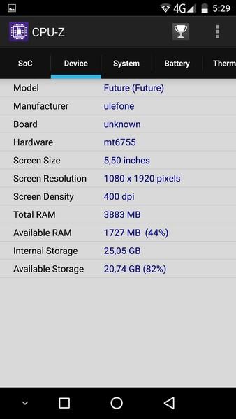 Ulefone Future Review - CPU-Z