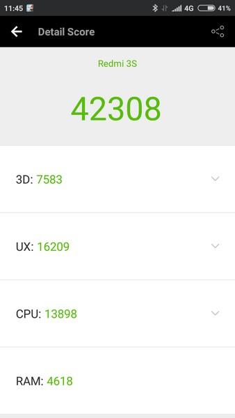 Xiaomi Redmi 3S Review - AnTuTu